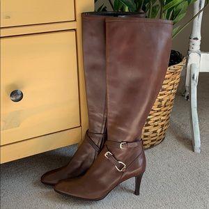 Ralph Lauren Collection knee high brown boots